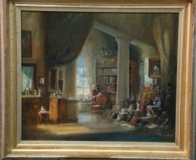 """Oil On Canvas """"Collector's Study"""" Signed Lower Righ"""