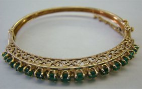 14K Yellow Gold & Emerald Bangle Braclet 10.0 Dwt