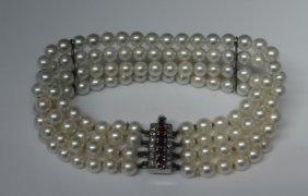 4 Strand Pearl Bracelet W/ Ruby & Diamond Clasp
