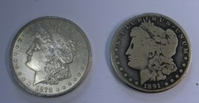 2 Carson City Silver Dollars, 1878 & 1891