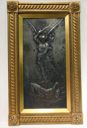 19thc. Silvered Bronze Plaque Of Saint Michael
