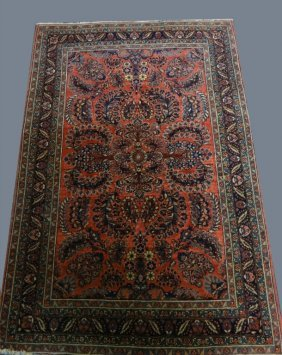 """Red Field Sarouk Scatter Rug 40"""" X 58 3/4"""""""