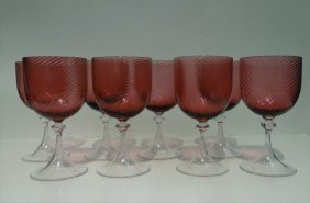 Set Of 8 Venetian Glass Stemmed Goblets