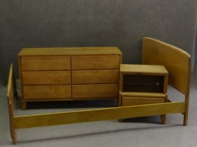 Mid Century 6 Drawer Chest, Night Table & Bed