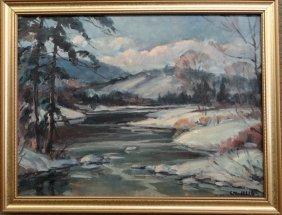 """O/bd """"winter Landscape"""" Sgnd C.w. Illig"""