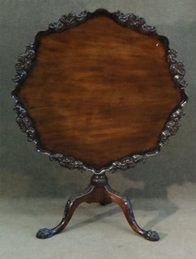 English Or Irish Heavily Carved Tea Table