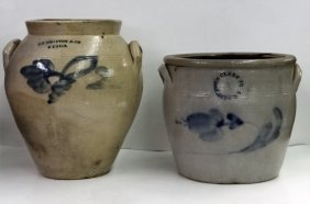 2 Stoneware Crocks 1 Clark Jr. & 1 J.f.braxton