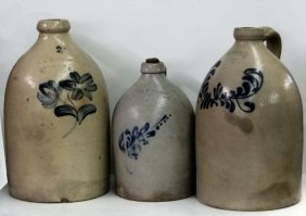 3 Stoneware Jugs W/ Cobalt Decoration