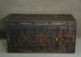 China Trade Leather Covered Oriental Coffer