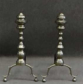 "Federal C. 1825 Brass Andirons 20"" Tall"