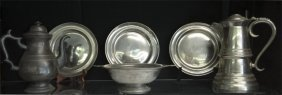 6 Pcs Of American Pewter Inc. Early Putnam Coffee