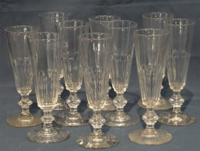 Set Of 10 Hand Blown Crystal Champagne Flutes