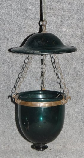 Entranceway Hanging Candle Lamp, Green Glass