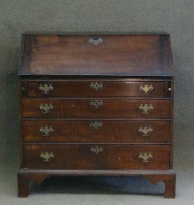 New England Chippendale Tiger Maple Slant Lid Desk