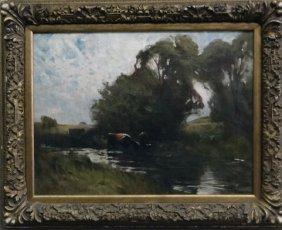 O/c Landscape Cattle Sgnd Charles Melville Dewey