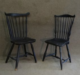 2 Late 18thc. Windsor Fan Back Plank Seat Chairs