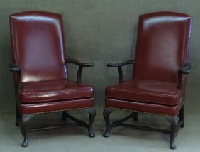 Pr Of Kittinger Lolling Chairs In Red Leather