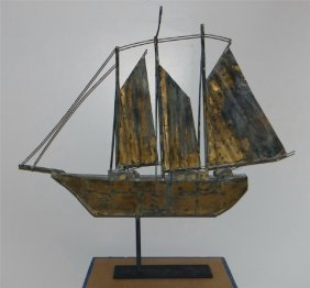 "Copper Sail Boat Weathervane C. 1930 34"" Long"