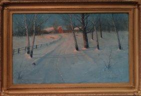 """O/c """"winter Evening"""" Sgnd Svend Svendsen"""