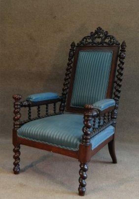 Rosewood Parlor Chair W/ Barley Corn Twist