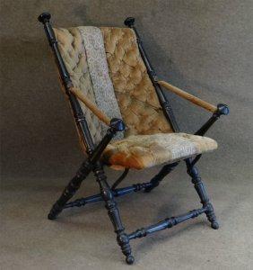 Velvet Upholstered Folding Parlour Chair