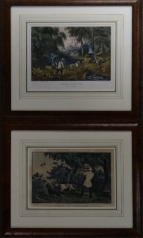 2 Small Folio Currier & Ives: Woodcock Shooting