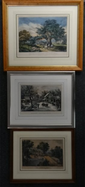 """3 Small Folio Currier & Ives: """"american Homestead"""