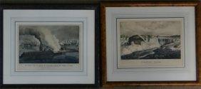 "2 Small Folio Currier & Ives ""niagara Falls"" &"