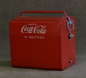 Coca Cola Cooler W/ Bottle Opener (zinc Lined)