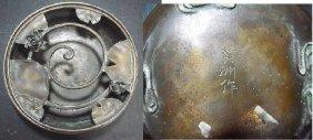 Fine Kanji Saku Signed Japanese Footed Bronze Flora