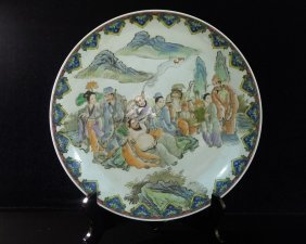 Chinese Famille Rose Porcelain Big Plate Decoration