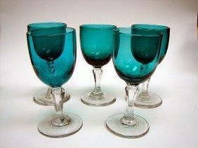 Set Of 5 X Georgian Bristol Green Wine Glasses Ca180
