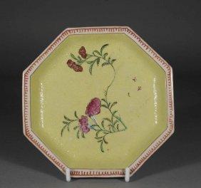An Eighteenth Century Chinese Octagonal Saucer Yello