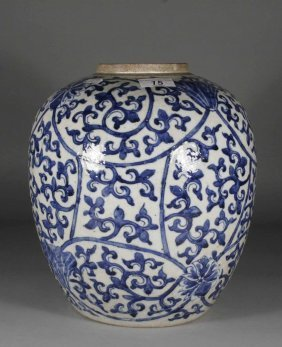 An Antique Chinese Blue And White Ginger Jar Painte