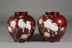 A Pair Of Japanese Meiji Period Cloisonne Vases Of
