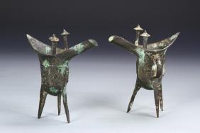 Pair Of Chinese Antique Bronze Jars