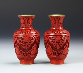 Two Chinese Cinnabar Vases