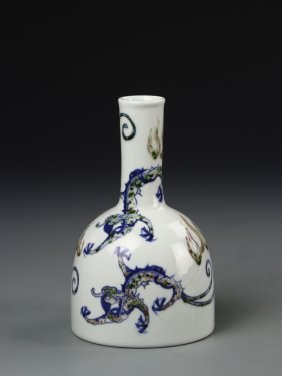 Chinese Blue And Red Bell Vase
