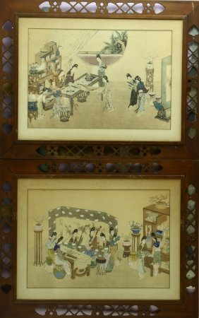 Chinese Water Color Painting Of Ladies
