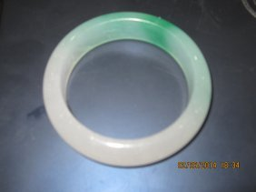 Chinese Green White Jade Bracelet 白绿
