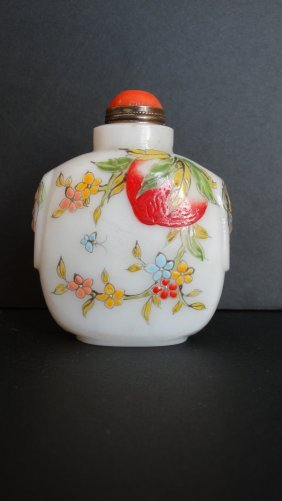 Chinese Glass Painted Enamel Snuff Bottle 玻