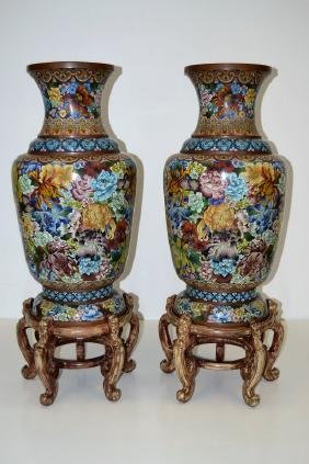 Monumental Chinese Cloisonne Temple Vases Pair