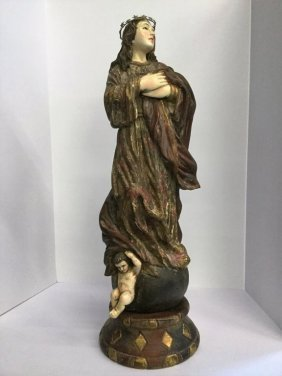 Santos Figure Of Mary With Glass Eyes