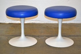 Saarinen For Knoll Blue Stools