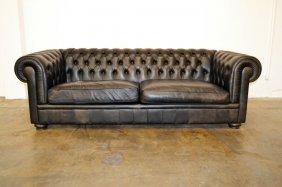 Natuzzi Black Leather Chesterfield Sofa