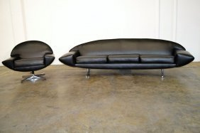 Johannes Anderson Black Leather Sofa And Chair