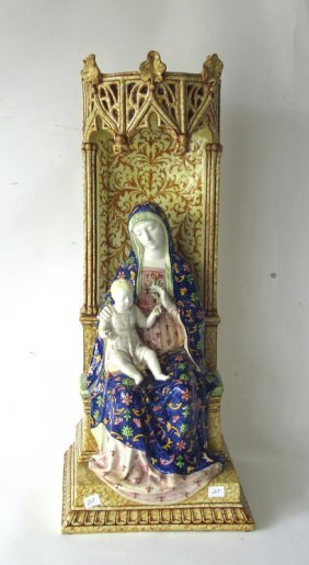 Italian Glazed Ceramic Mother And Child, Marked,