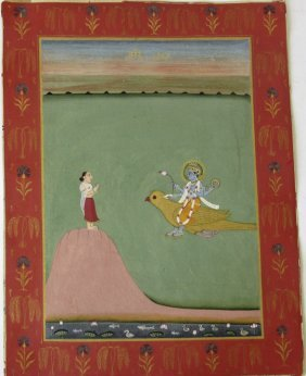 19th Century Indian Gouache Of Vishnu, 12 By 9 Inches.