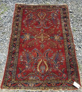 Old Sarouck Oriental Scatter Rug, 59 By 39 Inches.