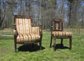 Probably French Antique Egyptian Revival Upholstered